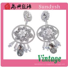 прекрасный цветок кристалл камень ручной работы, приятный и простой дизайн костюм алмазов уха топы тенденция ювелирные изделия мода серьги 2014 Гуанчжоу