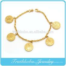 Brillante pulsera de metal polaco 18K IP oro mujer joyería Santo Santo encanto pulsera de acero inoxidable