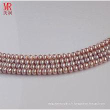 Cordes de perles d'eau douce lavande à 7-8mm