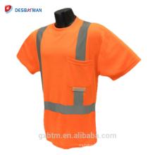 Visibilidad alta naranja / amarillo 100% poliéster Birdseye logotipo personalizado ANSI 107 reflexiva seguridad camiseta con cinta reflectante