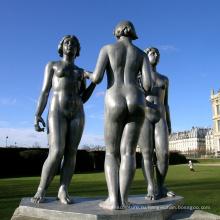 высокое качество обнаженная женщина спорт отливка бронзовая статуя