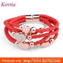 Женщины сердце формы красный шнур тканые кожаный браслет