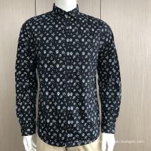 Men's 100%cotton print long sleeve shirt