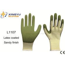 10g de alto grado de poliéster Shell látex Sandy guantes de trabajo de seguridad recubiertos (L1107)