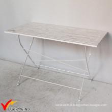 Mesa de jantar dobrável de laje de madeira quadrada