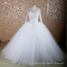 RSW755 Long Sleeve Heavy Beading Pattern Saudi Arabian Wedding Dresses In Dubai