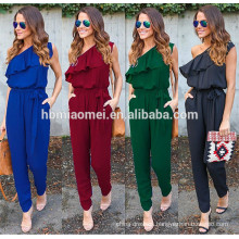 Hot selling instock women jumpsuit Irregular lotus leaf straps chiffon summer adult onesie