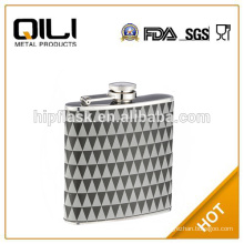 wholesale promotional 6oz leather wrap printed hip flask
