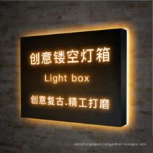 LED Creative Hollow Light Box Billboard Outdoor Production Wall-Mounted Door Sign Luminous Wrought Iron Light Box