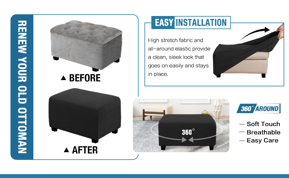 Storage Ottoman Covers Slipcovers