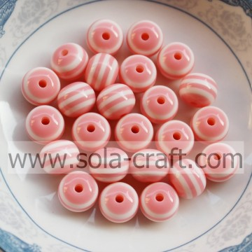 Fabriek prijs 8MM 500Pcs licht roze acryl Spacer Gumball kralen, losse solide harsparels, Chunky kralen voor Necklace