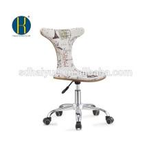 2017 Top avaliado tecido branco estofos de madeira cadeira de escritório com base de cromo