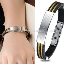 2015 nuevo auténtico oro negro retro pulsera de acero inoxidable Brazalete pulseras de silicona masculino PH842
