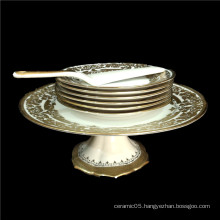 Wedding cake plates with cake knife beautiful gold inlay decorative fruit dish cake plate with stand set