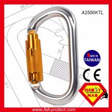 2017 O Shaped Twist Lock Carabinetes de escalada de alumínio feitos em Taiwan