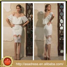 BIE-03 2016 New Arrival White Bridal Wedding Gowns Off Shoulder Low Back Fit Bodice Lace Appliqued Skirt Short Wedding Dress