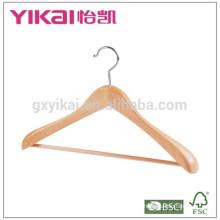 Fancy wide shoulder coat clothes hanger with round bar
