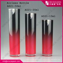 China Design especial redondo pressionado Airless garrafa para creme facial 15ml pet garrafa
