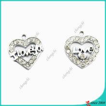Charme de liga de zinco metal prata coração