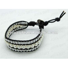Amistad perla perlas redondas envolver pulseras