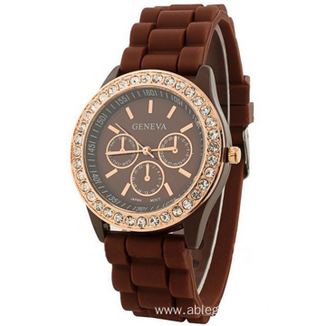 Fashion Quartz Jelly Silicone Children Diamond Watch