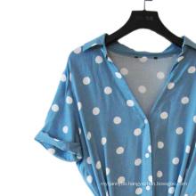 100% Viscose Print Spot V Neck Lady Dress
