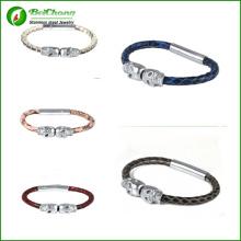 Doble pulsera de calavera de plata moda genuina serpiente piel pulsera Northskull Python cuero brazalete 316l acero inoxidable