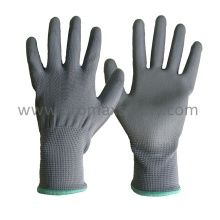Grey Polyester Knitted Gloves with Grey PU Coating on Palm