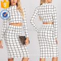 Crop Grid Top & Pencil Skirt Fabricação Atacado Moda Feminina Vestuário (TA4001SS)