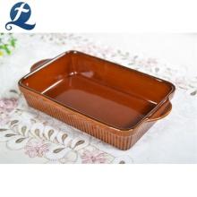 Juego de platos de cerámica para hornear con horno de restaurante rectangular de alta calidad con mango