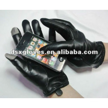 Черные кожаные перчатки с сенсорным экраном