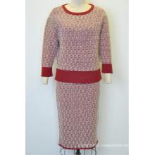 Elegant Women Knit Round Neck Sweater Twinset Dress