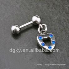 Heart mens diamond earring stud stone ear chain