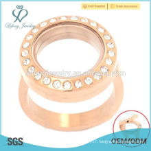 New fashion stainless steel rose gold floating locket engagement ring jewelry