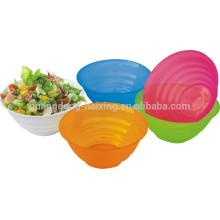 Matériel de PP rond nourriture et bol à salade légumes grade couvercle en plastique transparent avec couvercle