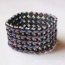 5rows Elastic Black Coin Shape Fashion Pearl Bracelet