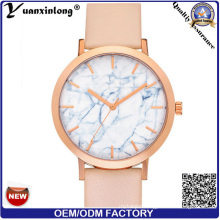 Yxl-686 Marble Stone Watch Face Stainless Steel Watch Case Black Genuine Leather Fashion Watch