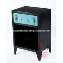 Hierro negro pequeño almacenamiento 1 cajón dormitorio muebles nightstand