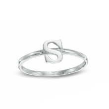 Silver Jewelry Environmental Copper Alphabet S Letter Ring