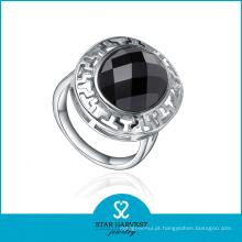 Moda prata anel de ágata redonda (r-0437)