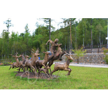 Decoração do jardim de metal artesanato tamanho vida cervos estátua grande esculturas de bronze ao ar livre