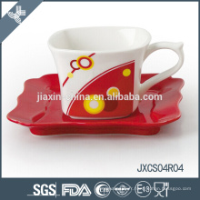 Tasse à café en porcelaine et soucoupe en gros, ensemble de coupe de conception de ruban, petit ensemble de tasse