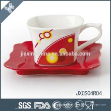 Por atacado de porcelana xícara de café quadrado e pires, conjunto de copo design sliver, pequeno conjunto de copo