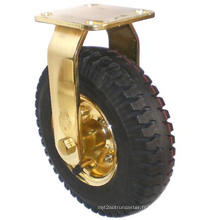 Roulette pneumatique fixe (noir) (plaqué or)