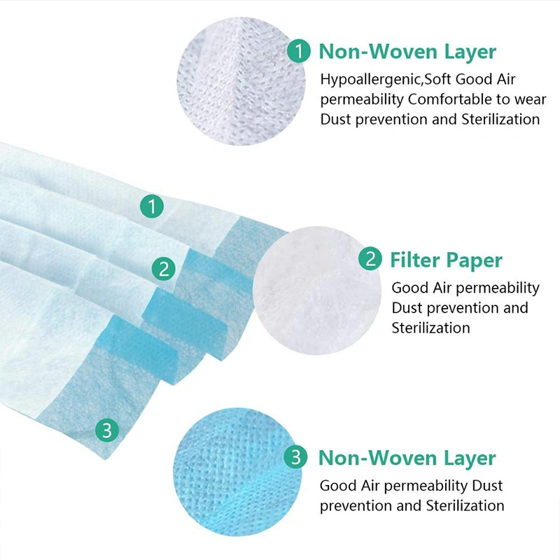 4 Disposable Three Ply Surgical Non Woven Medical Masks For Hospital Clinic Face Mask