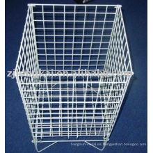 Blanco cuadrado de alta capacidad de alambre de metal supermercado pantalla de la cesta de fruta o juguete