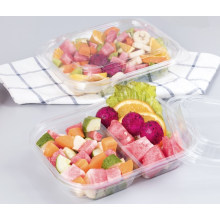 Pet Clear Plastic Compartment Take Away Salad Food Container Tray 12