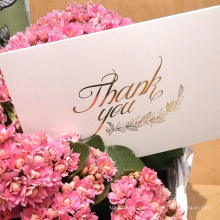 Niedriger Preis Entwurfs-kundenspezifische Goldfolie danken Ihnen Karten mit Umschlag