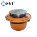 Round adjustable leveling strainer with cast iron body