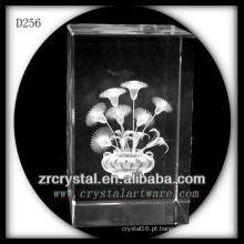 K9 3D Laser Flor Dentro Retângulo De Cristal